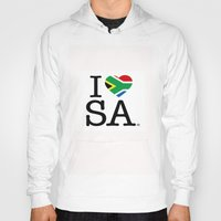 south africa Hoodies featuring I LOVE SOUTH AFRICA by ROGUE AFRICA