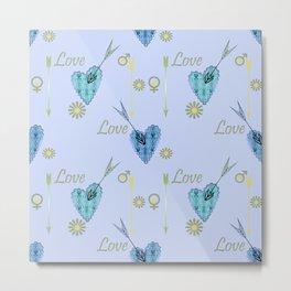 Love . The filigree heart . Blue background . Metal Print