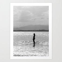 Byron Bay surfer girl at sunset Art Print