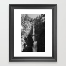 Multnomah Falls Oregon Waterfall Black and White Framed Art Print