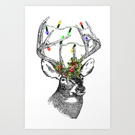 Christmas Stag with holly and fairy lights Art Print