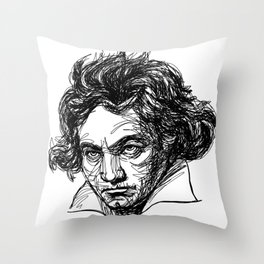 Ludwig Van Beethoven line drawing Throw Pillow