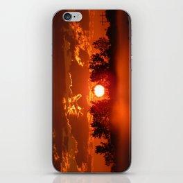 Flaming Horses over the Foggy Sunrise iPhone Skin