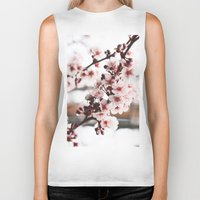 cherry blossoms Biker Tanks featuring Cherry Blossoms by paytonbdesigns