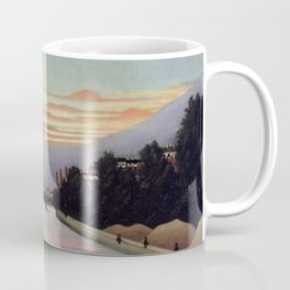 Sunset and Neon Lights at the The Eiffel Tower, Paris, France by Henri Rousseau Coffee Mug