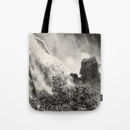 Strength against the waterfall Tote Bag