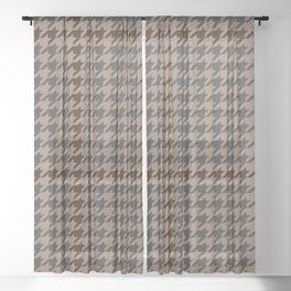 Houndstooth Brown and Grey w/ Dachshund Sheer Curtain
