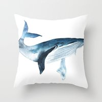 Throw Pillows featuring Big blue whale by KatyaBra