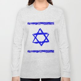 flag of israel 9- יִשְׂרָאֵל ,israeli,Herzl,Jerusalem,Hebrew,Judaism,jew,David,Salomon. Long Sleeve T-shirt