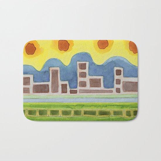 Surreal Simplified Cityscape Bath Mat