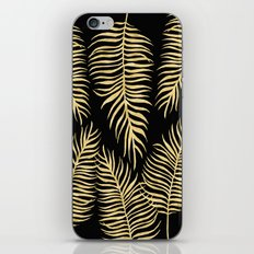 Fern Pattern Gold On Black Background iPhone & iPod Skin