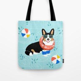 Tricolored Corgi Pool Party - cute corgi dog design pool party summer beach ball dog costume dogs Tote Bag