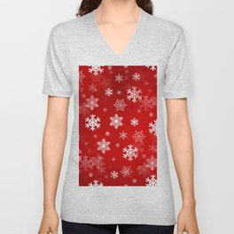 Light Red Snowflakes Unisex V-Neck