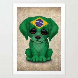 Cute Puppy Dog with flag of Brazil Art Print