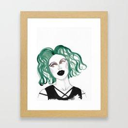 Alien - green hair and black lips Framed Art Print
