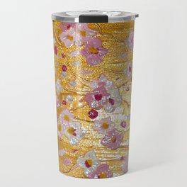 Cherry Blossoms on Gold Travel Mug