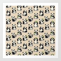 pandas Art Prints featuring Pandas by Olya Yang