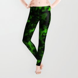 A gloomy cluster of green bodies on a dark background. Leggings