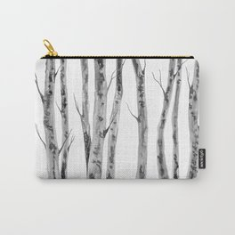 Birch Trees Indian Ink Illustration | Canadian Art Carry-All Pouch