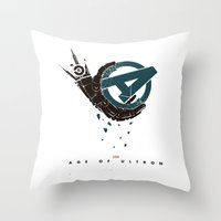 superheros Throw Pillows featuring Age of Ultron (Mechanic hand) by Illuminany