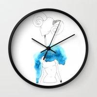 aries Wall Clocks featuring Aries by Amee Cherie Piek