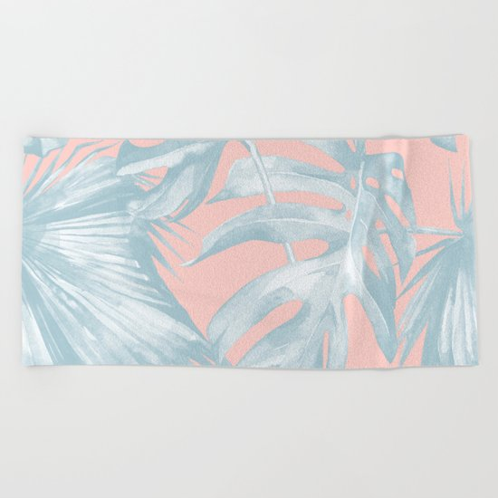 Island Love Pale Teal Blue on Millennial Pink Beach Towel