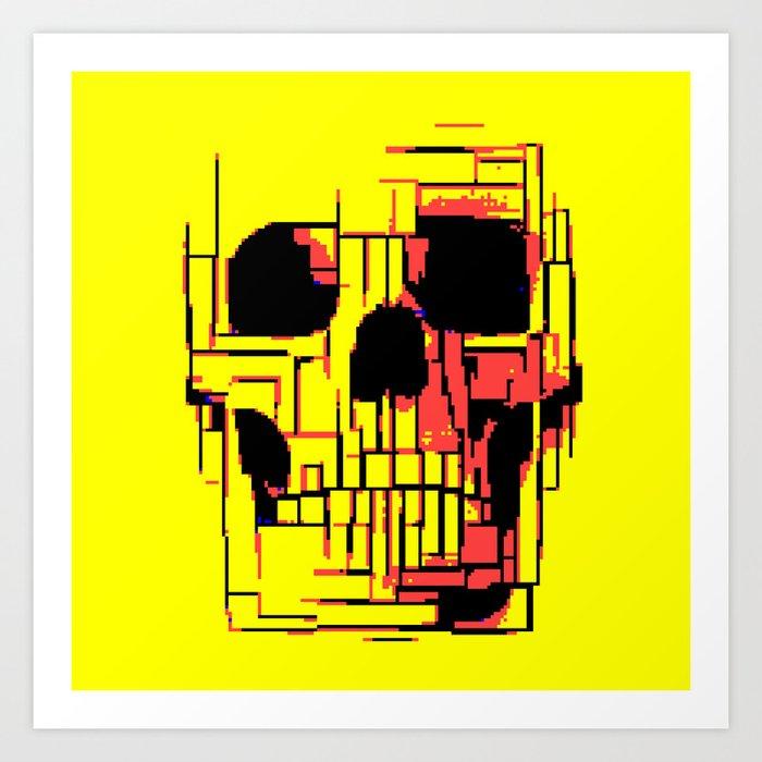 Pixelated skull Art Print