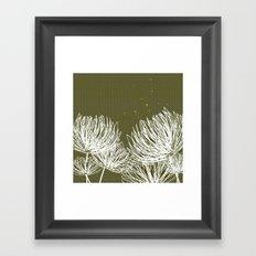 Olive Doodle Floral by Friztin Framed Art Print