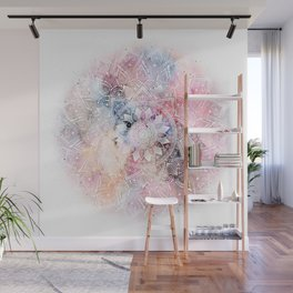 Whimsical white watercolor mandala design Wall Mural