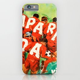 Vintage 1970 Soccer Motif Campari Soda Advertisement by Pijoan iPhone Case