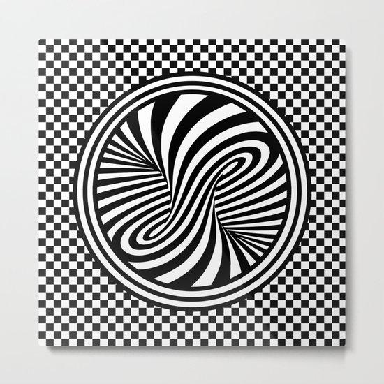 Black & White Twist & Check Design Metal Print