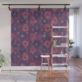Lotus flower - mulberry woodblock print style pattern Wall Mural
