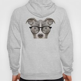 Pit bull with glasses Dog illustration original painting print Hoody