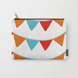 Red Orange and Turquoise Banner Pattern Carry-All Pouch