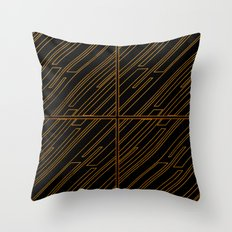 Art Deco Golden Lines Throw Pillow