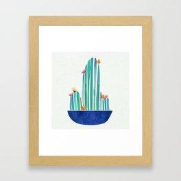 Spring Cactus Blossoms with Indigo Terra Cotta Framed Art Print