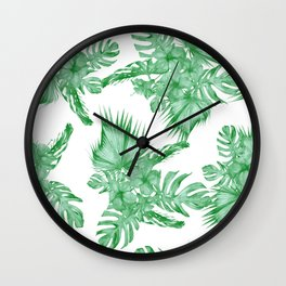 Palm Leaves and Hibiscus Tropical Green Wall Clock