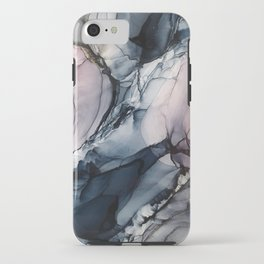 Blush, Navy and Gray Abstract Calm Clouds iPhone Case