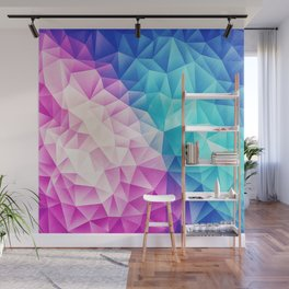 Pink - Ice Blue / Abstract Polygon Crystal Cubism Low Poly Triangle Design Wall Mural