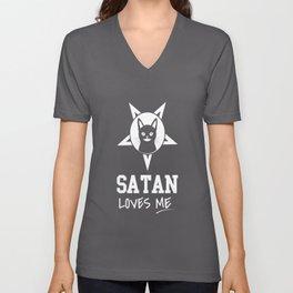 satan devil loves me cat devilish hell loves Unisex V-Neck