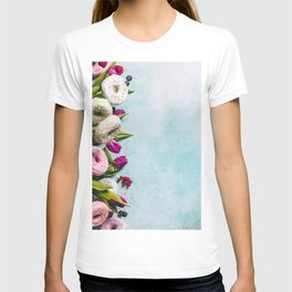 Sweet and colourful doughnuts with sprinkles, purple tulips and berries T-shirt