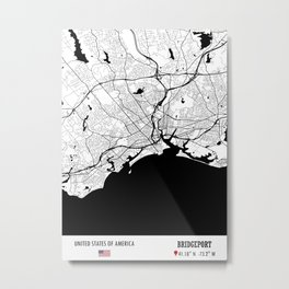 BRIDGEPORT, USA Road Map Art - Earth Tones Metal Print