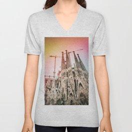 Rainbow Sky Vintage Sagrada Familia in Barcelona Spain Unisex V-Neck