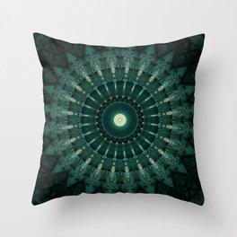 Malachite green mandala Throw Pillow