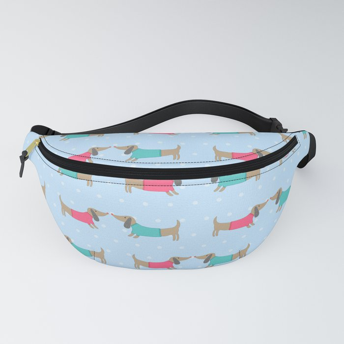 Cute dog lovers with dots in blue Fanny Pack