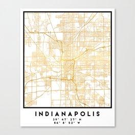 INDIANAPOLIS INDIANA CITY STREET MAP ART Canvas Print