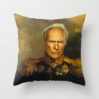 replaceface Throw Pillows featuring Clint Eastwood - replaceface by replaceface