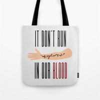 lorde Tote Bags featuring It Don't Run in Our Blood - Royals by Lorde by Jesus Acosta