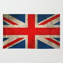Old and Worn Distressed Vintage Union Jack Flag Rug