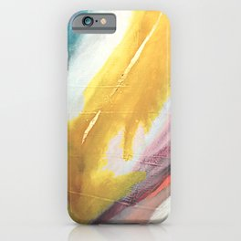 Ambition: a colorful abstract piece in bold yellow, blue, pink, red, and gold iPhone Case